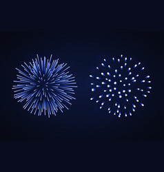 beautiful blue fireworks set bright fireworks vector image