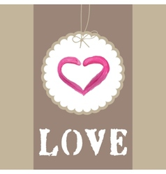 Beautiful greeting vintage Valentines card with vector image