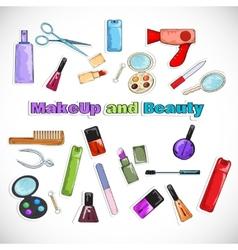 Beauty Salon Doodles vector image