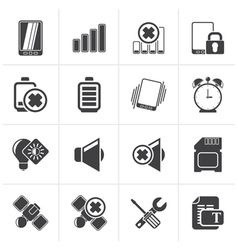Black Mobile Phone sign icons vector