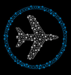 Bright mesh wire frame airport with flare spots vector
