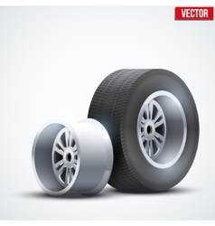 Car tires and wheel at warehouse vector