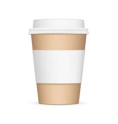 cardboard coffee cup with sleeve mockup vector image