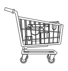 Cart shopping paper bag gift commerce outline vector