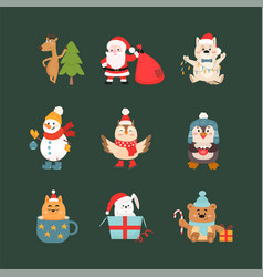 christmas celebration symbols and animals vector image