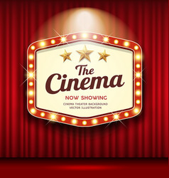 Cinema theater hexagon sign red curtain light up vector