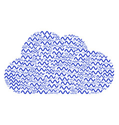 Cloud figure of sinusoid wave icons vector