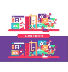 Cloud hosting design vector