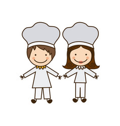 colorful caricature couple chef costume vector image