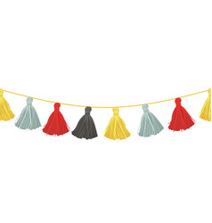 colorful hanging decorative tassels vector image