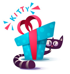 Cute kitty characters with blue gift vector