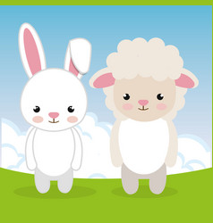 Cute rabbit and sheep in the field landscape vector