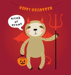 Cute sloth in halloween costume vector