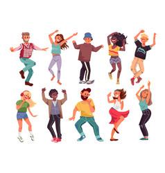 dancing people happy cartoon teens young modern vector image