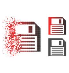 Disintegrating dot halftone save floppy icon vector