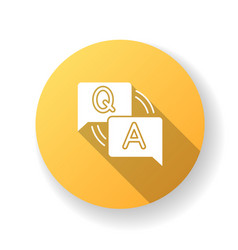 faq yellow flat design long shadow glyph icon vector image