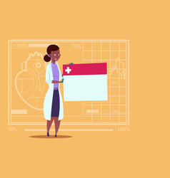 Female doctor holding empty diagnosis banner vector