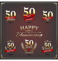 Fifty years anniversary signs collection vector