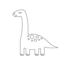 flat cartoon cute mint dinosaur diplodocus vector image