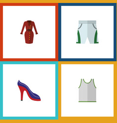flat icon clothes set of trunks cloth heeled shoe vector image