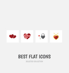 flat icon heart set of present soul necklace and vector image