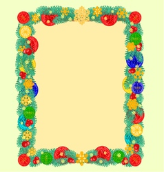 Frame from christmas tree branches of spruce vector
