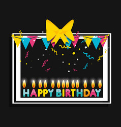 frame of birthday with garlands and candles vector image