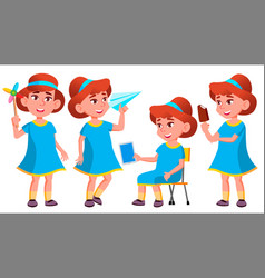 Girl kindergarten kid poses set little vector