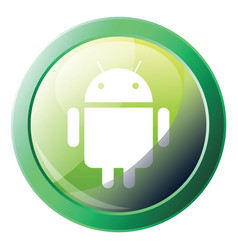 Green round android system icon on a white vector