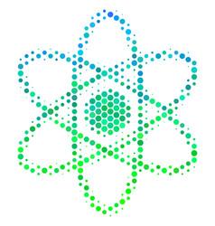 Halftone blue-green atom icon vector