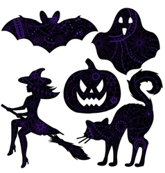 halloween drawing silhouettes vector image