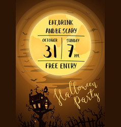 halloween party poster with spooky castle vector image