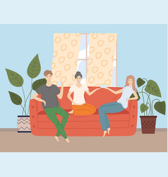 Happy friends watching television together sitting vector