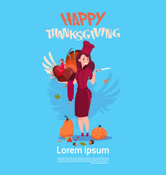 happy thanksgiving day female chef cook holding vector image