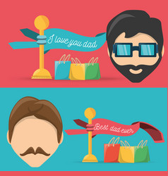 Head men with ribbons and gifts bags vector