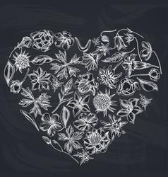 Heart floral design with chalk bellflower vector