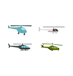 helicopter icon set flat style vector image