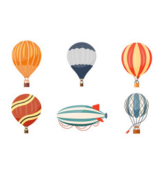 Hot air balloon and airship icons set vector