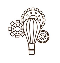 Hot air balloon with gear isolated icon vector