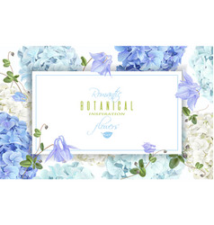 hydrangea horizontal banner blue vector image