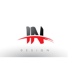 in i n brush logo letters with red and black vector image
