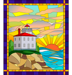 In stained glass style lighthouse vector