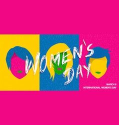 international womens day pop art woman poster vector image