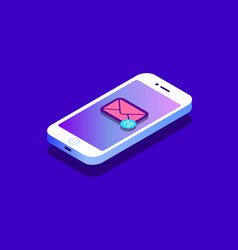 isometric concept with smartphone and incoming vector image