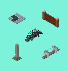 Isometric street set of dc memorial barrier vector
