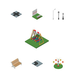 Isometric urban set of seat street lanterns vector