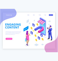Isometric web banner with engaging content vector