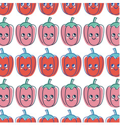 Kawaii cute thinking pepper vegetable background vector