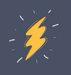 lightning icon on white flash icon hand drawn vector image