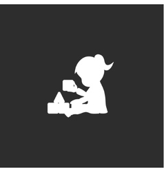 Little girl sits and plays with cubes monochrome vector